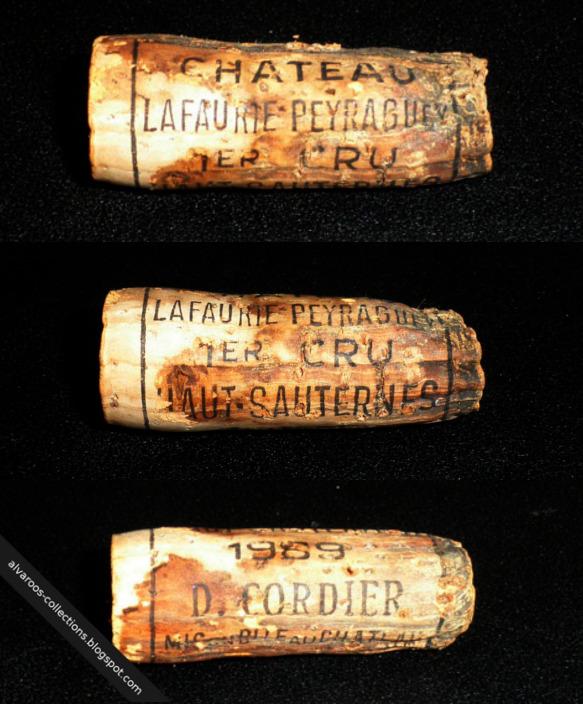 Destroyed wine cork: Chateau Lafaurie Peyraguey (Haut-Sauternes) 1989