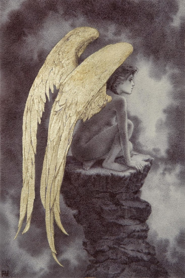 04-The-Fallen-Rebecca-Yanovskaya-Ballpoint-Pen-and-Gold-Leaf-Drawings-www-designstack-co