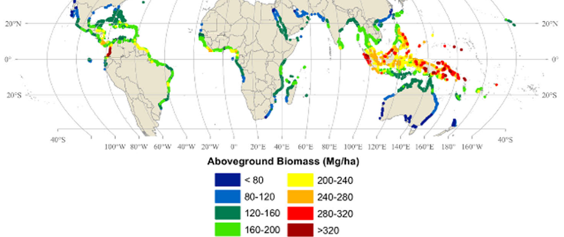 Map showing the global distribution of mangroves