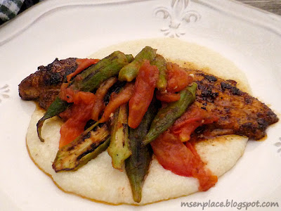 Roasted Okra & Tomato Topped Blackened Catfish | Ms. enPlace