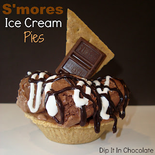 Mini S'mores Ice Cream Pies ~ Dip it in Chocolate