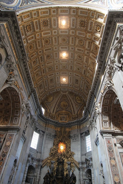 Cathedra (Throne) of St Peter by Bernini at the west end of the basilica in St Peter's Basilica, Vatican City, Rome, Italy