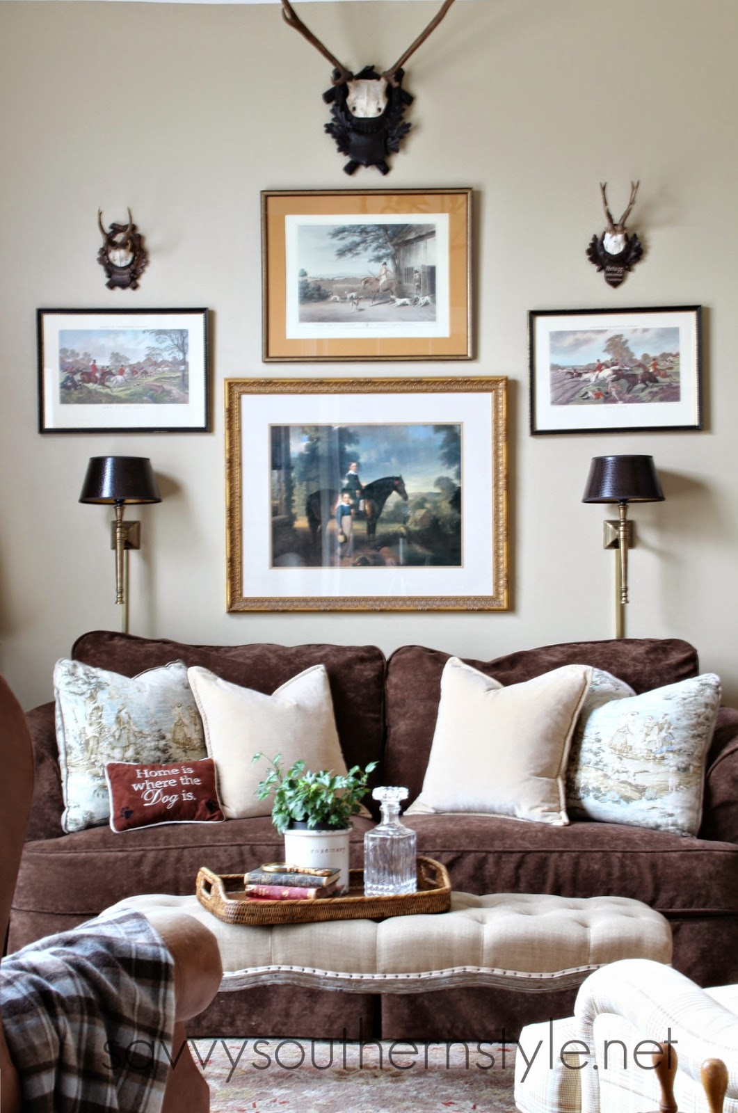 Ideal I love the gallery wall I created a few years ago but I have always wanted to add two sconces over the sofa to add more of a library feel