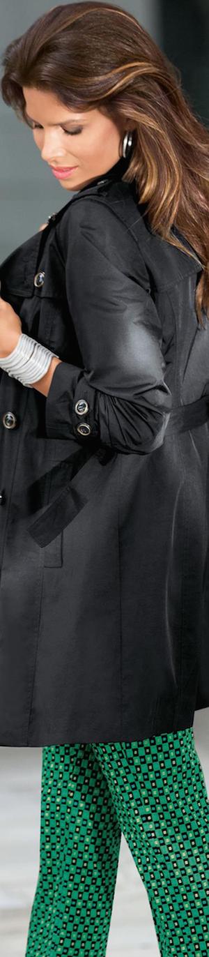 Madeleine Short Trench Coat in Black