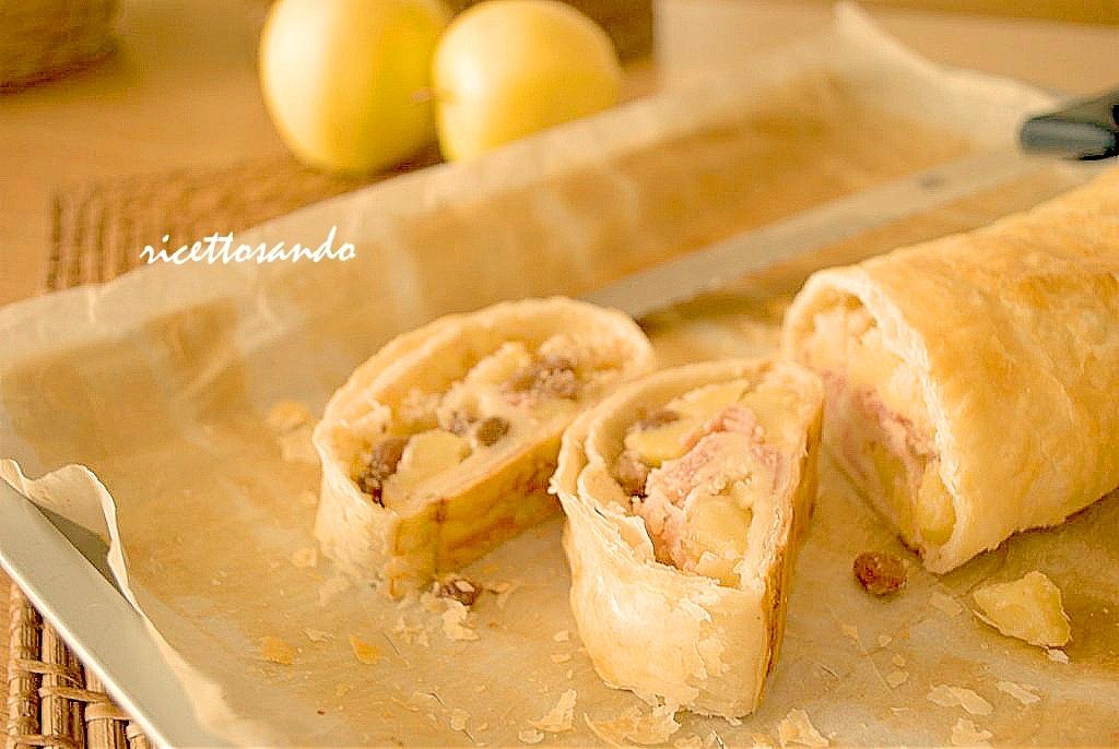 Strudel salato di mele con nocciole e prosciutto ricetta fingerfood o snack