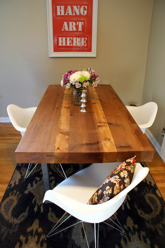 industrial style reclaimed wood dining table