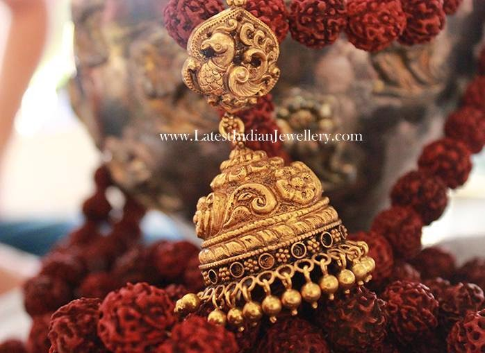 Peacock Design Stunning Gold Jhumka