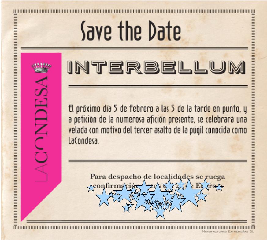 Save the date La Condesa desfile enero 15 temporada FW 15-16 colección Interbellum