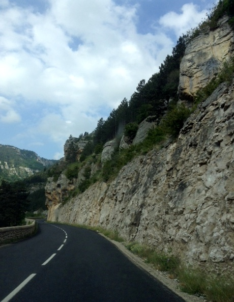 beginning of drive through Gorges du Tarn, France