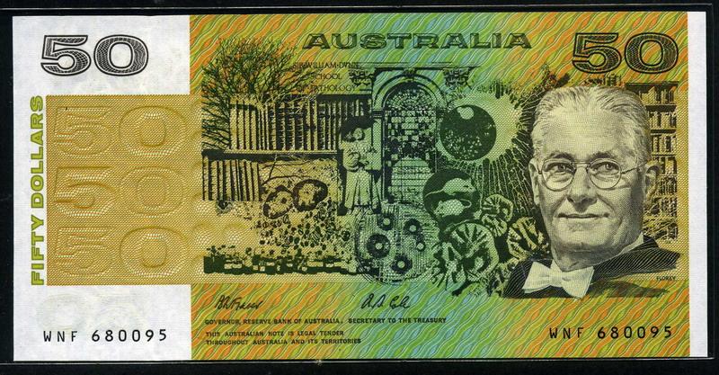 Australian Banknotes 50 Australian dollars banknote of 1991.:Coins and Banknotes