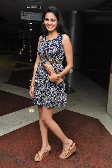 Swetha Jadhav Latest Stills in Blue Floral Short Skirt