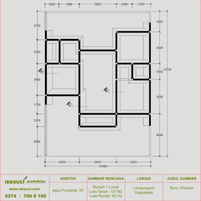 rencana pondasi rumah 1 lantai