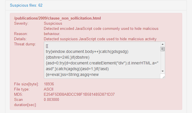 Detected malicious JavaScript on website