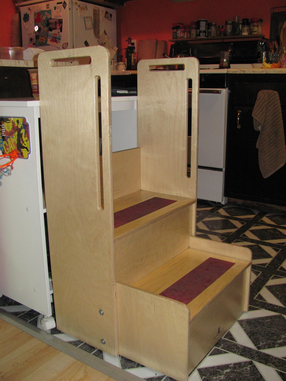 MaMammalia: Cooking With A High Needs Toddler Toddler Kitchen Stool. Full resolution‎  portrait, nominally Width 1200 Height 1600 pixels, portrait with #B73514.
