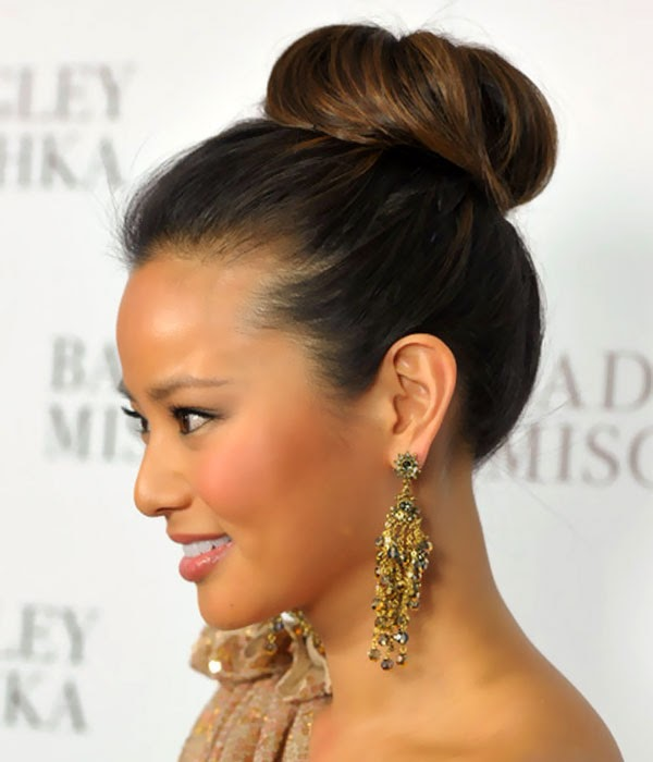 Buns Hairstyles updo buns hairstyles updo buns hairstyles black hair collection Wednesday 9 April 2014 Beautiful Jamie Chung Classic High Bun Hairstyle Updo