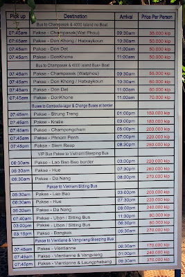 Bus schedules Pakse