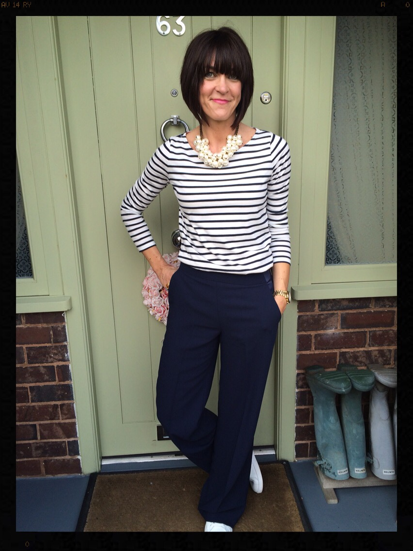 My Midlife Fashion, Boden, Zara, Mango, Trainers, Wide Legged Trousers, Stripes, Breton, Long Sleeved Breton