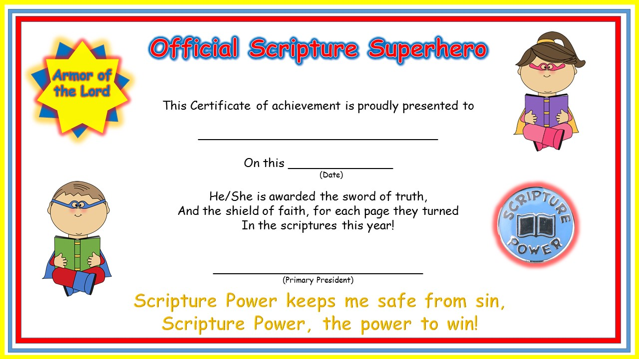 Primary pathways scripture super hero awards we will do some scripture hero relays or possibly a scripture olympics these are the certificates i designed today 1betcityfo Image collections