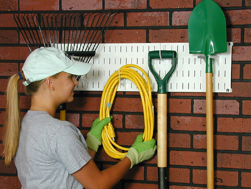 peg board garden tool storage