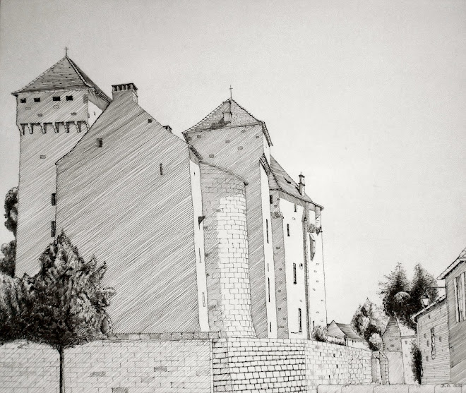 Château du Quercy à l'encre rottring de 0,1 mm (2012) exposé à la mairie pur un an