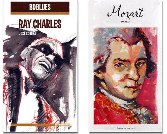 Ray Charles illustré par José Correa et Mozart illustré par Pablo