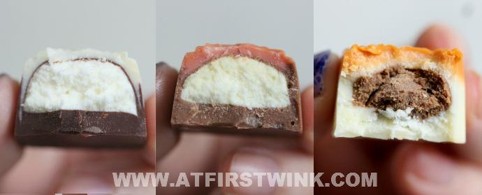 Milk, dark, and white chocolate bonbons with praline and white cream filling