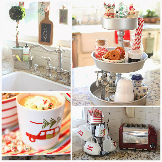 Kitchen at Christmas with chalk cutting board, tiered kitchen stand, Dualit toaster and World Market mug tree-www.goldenboysandme.com