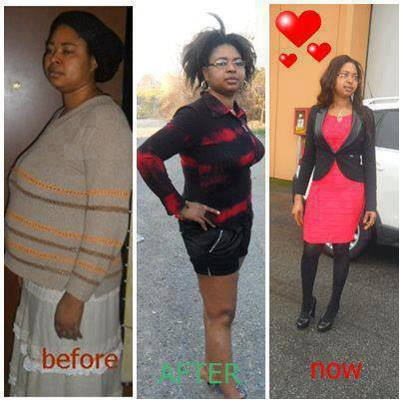 Before and after weight loss testimonial pictures.