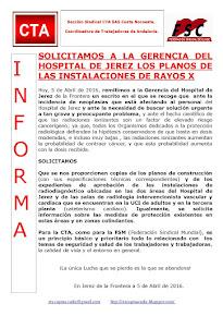 SOLICITAMOS A LA GERENCIA DEL HOSPITAL DE JEREZ LOS PLANOS DE LAS INSTALACIONES DE RAYOS X