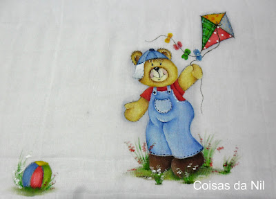 """fralda pintada menino ursinho e pipa"""