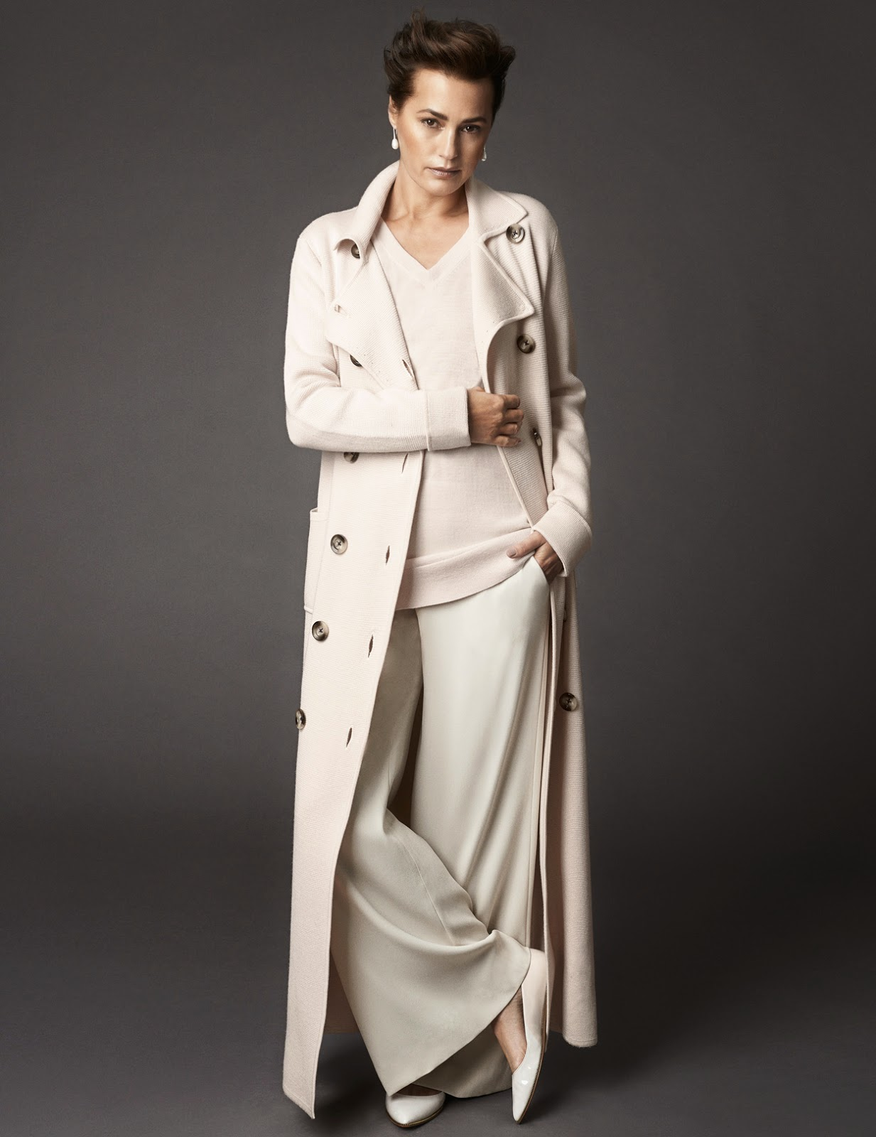 Yasmin Le Bon in a Winser London Milano coat