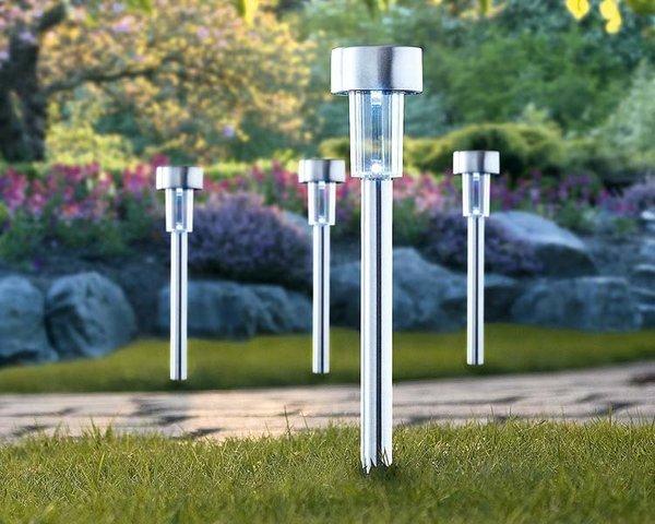 Everblue l mparas estaca solar para jardin no usan for Focos solares jardin