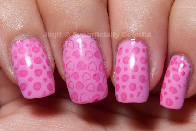 China Glaze Dance Baby stamped with Ciate Jelly Bean