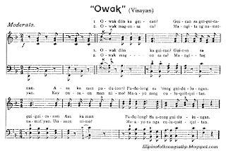 Filipino Folk Song - Owak Sheet Music (Visayan)