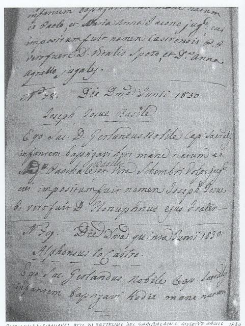 Atto di Battesimo del Medico Garibaldino Dr. G. Basile