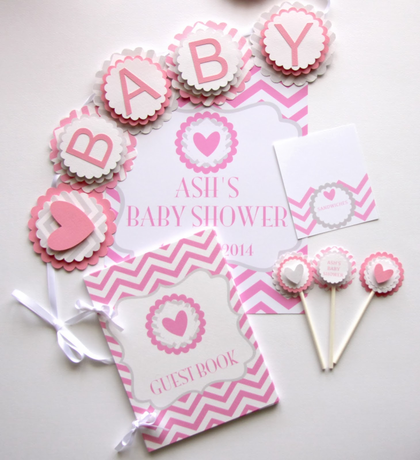 charli mae baby shower pink and grey chevron