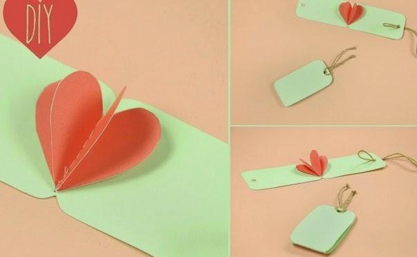 Manualidades recicladas - Tarjetas para decorar un regalo de San Valentín