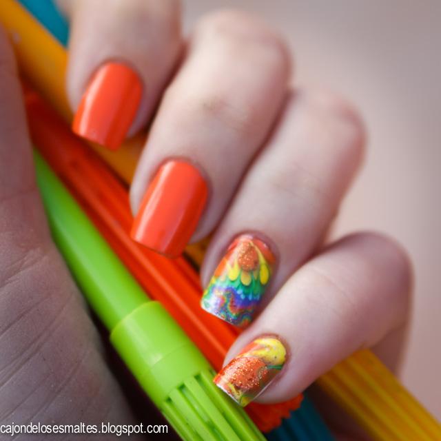 water decal - fractal - abstract nail art