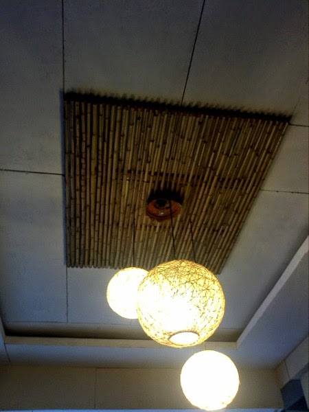 tropical interior design using bamboo for ceiling