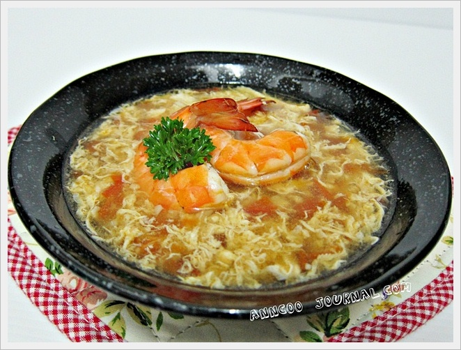 Tomato Egg Drop Soup with Prawns - Anncoo Journal