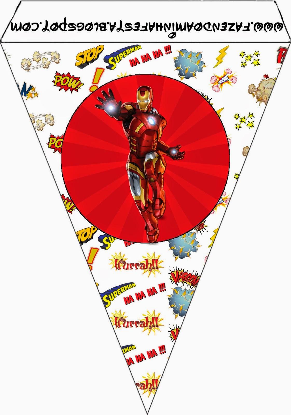 Para Banderines de Iron Man para imprimir gratis.