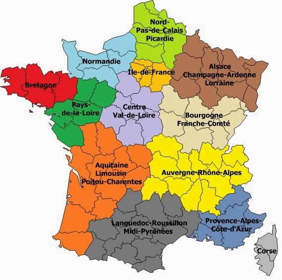 Znalezione obrazy dla zapytania Francja podział administracyjny