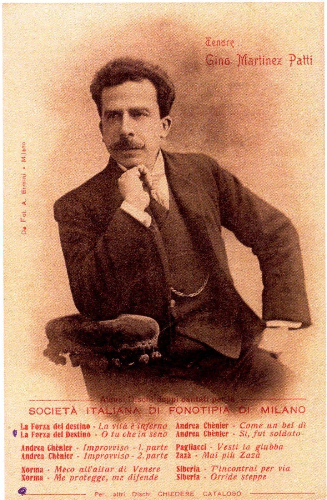 ITALIAN TENOR GINO MARTINEZ-PATTI (1866 - 1925) CD