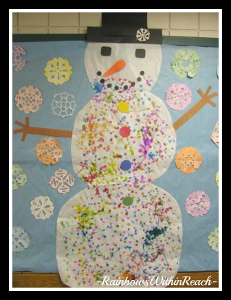 Gigantic Snowman Collaborative Mural Bulletin Board (from Bulletin Board RoundUP via RainbowsWithinReach)