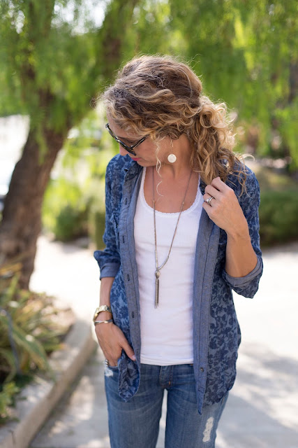 statement necklace, denim on denim
