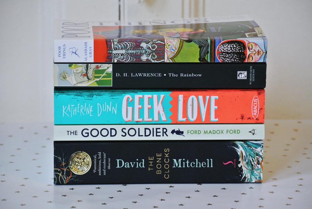 The Bone Clocks, The Good Soldier, Geek Love, The Rainbow, Poor Things