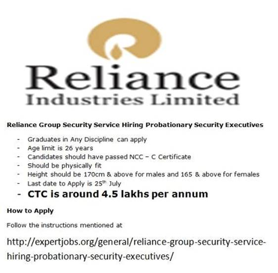 Software Jobs: Reliance Group Security Service Hiring Probationary ...
