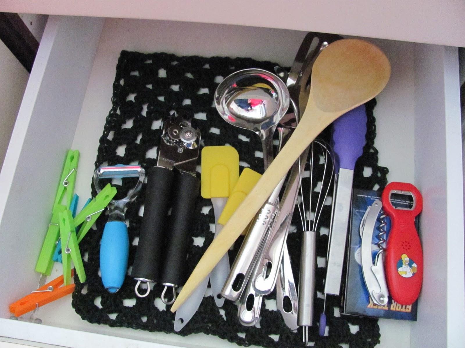 Homemade drawer liner with kitchen utensils in our Dublin, Ireland kitchen