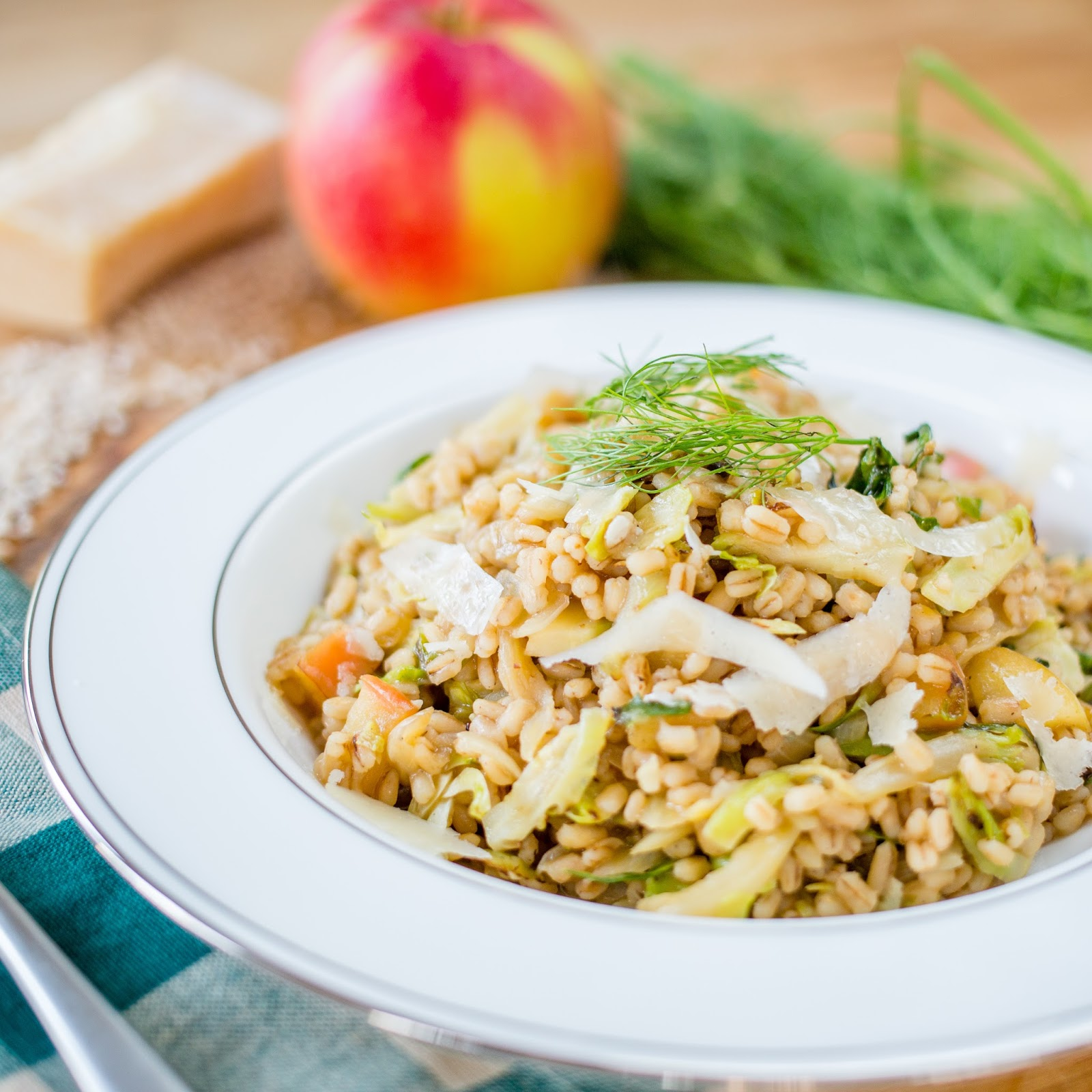 B is forBarley Risotto with Brussels Sprouts, Fennel  Apple