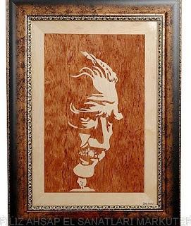 Sanatsal el yapımı ahşap marküteri tablo,  dünya sanatı eserler